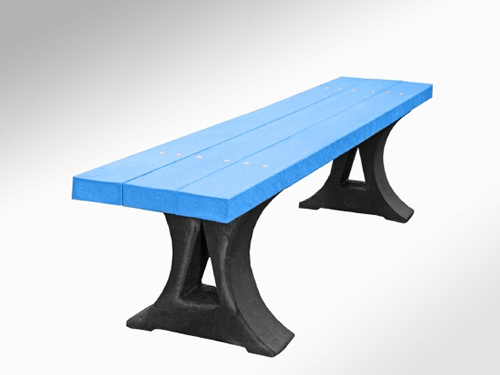 DALLAS plastic moulded frame bench in blue