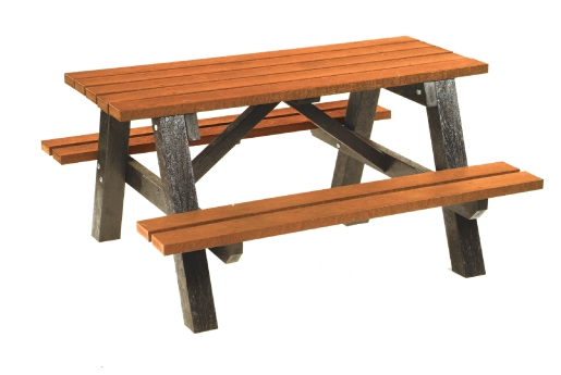 Picnic bench table with moulded plastic frame