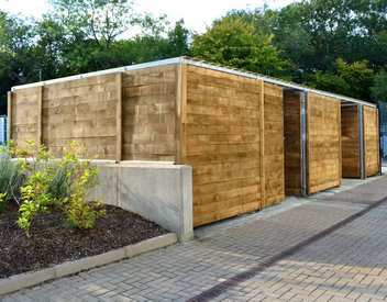 timber bin store - hardwood slats wooden commercial bin storage compound